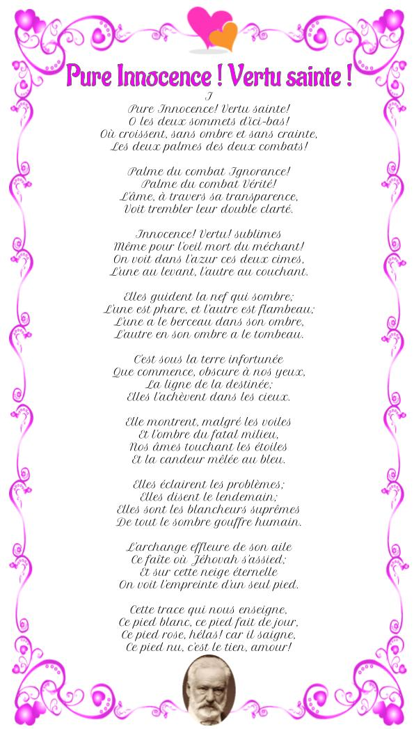 Poème : Pure Innocence! Vertu sainte! de Victor Hugo