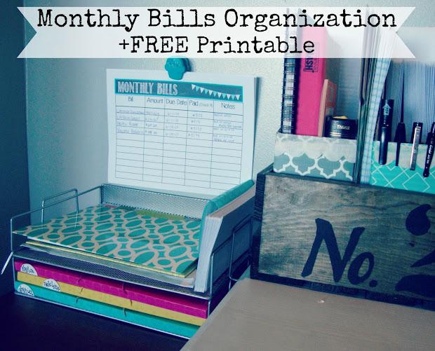 Organization Monthly Bills Printables