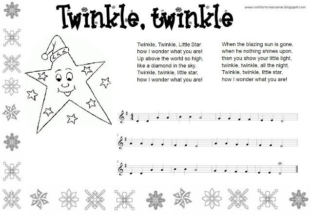 Twinkle, twinkle Partitura del Villancico en Inglés con ficha para colorear y letra