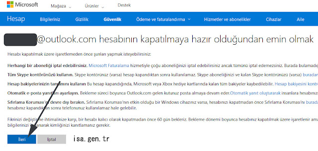 outlook.com hesap silme linki