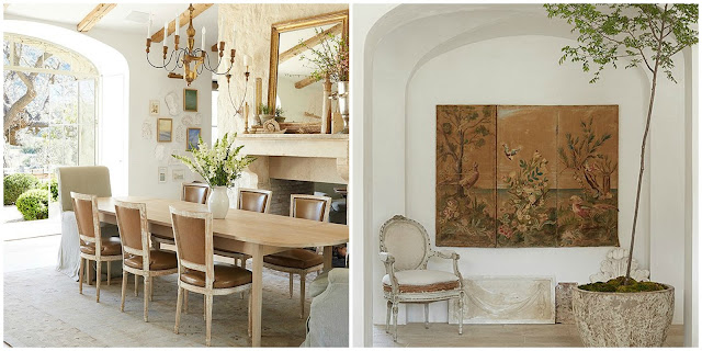 Dining room Swedish antiques in modern farmhouse neutral European antique style Patina Farm Giannetti Home