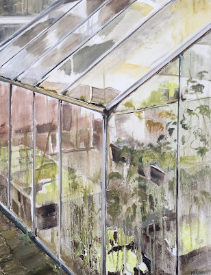 """Greenhouse"", plein air oil painting 50x65 cm by Philine van der Vegte"