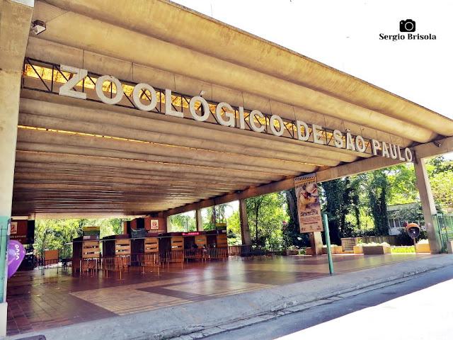 Vista ampla da entrada do Zoológico de São Paulo - Parque do Estado - São Paulo