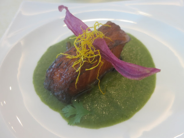 Fried Cod Fish with Green Puree