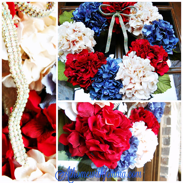 rhinestone, glittering, bright, red, white and blue wreath, holidays, celebrate