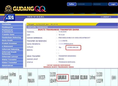 Selamat Kepada Member Setia GudangQQ WD sebesar Rp. 8,000,000.-