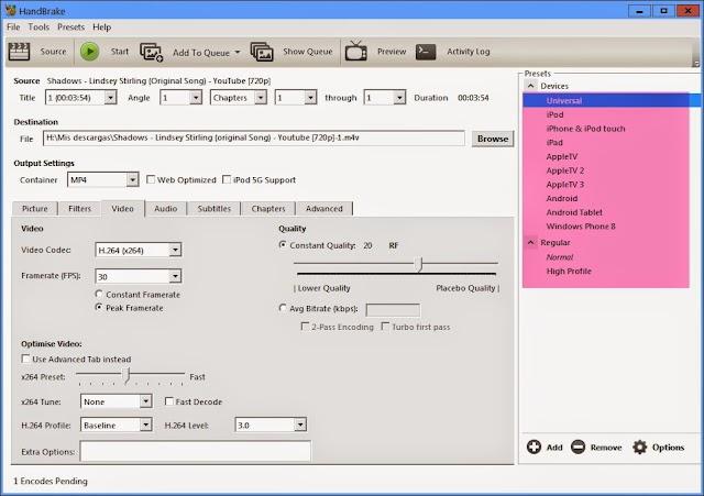HandBrake 1.2.2 | Ripea y convierte un DVD a los formatos de dispositivos actuales
