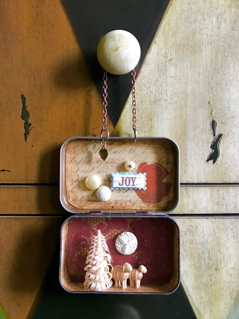 """Joy"" holiday Altoids box assemblage"