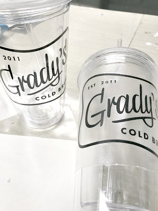 Grady's cold brew vinyl sticker created on the Silhouette