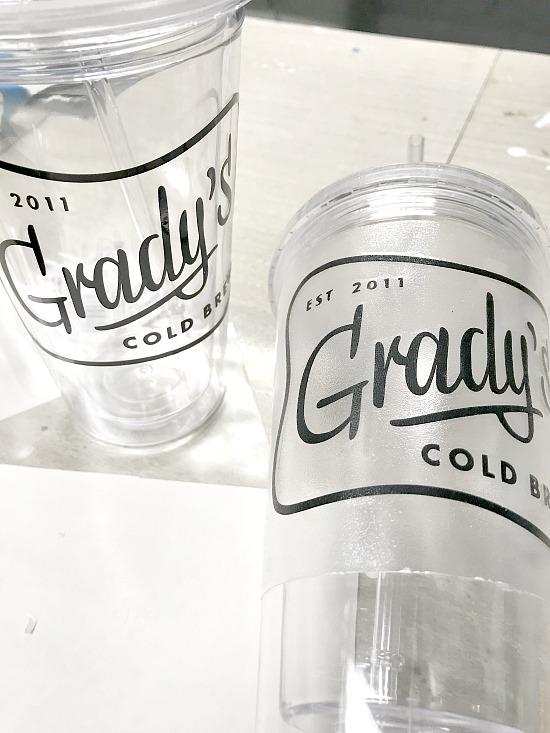 Grady's cold brew vinyl sticker created on the Silhouette