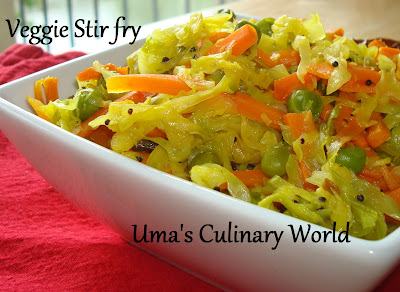 cabbage carrot peas stir fry