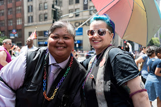 """My friend and current Sirens Treasurer, Kim Wetzel, and I at NYC Pride March"""