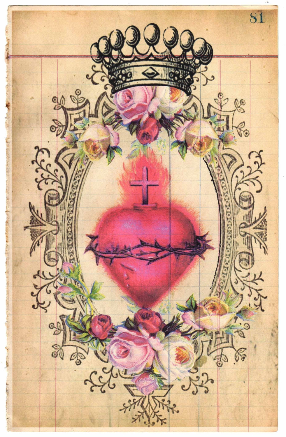 It is a photo of Crush Sacred Heart Drawing