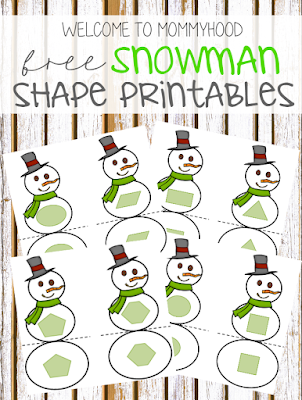 Winter activities: free snowman shape matching printable for toddlers by Welcome to Mommyhood #winteractivities, #toddleractivities, #montessori, #montessoriactivities, #toddlers