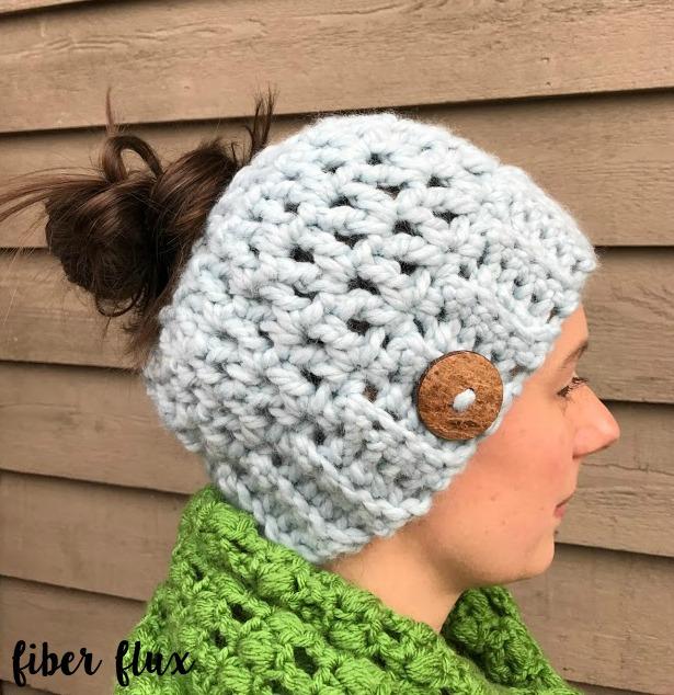 Crochet Patterns Messy Bun Hat : Fiber Flux: Free Crochet Pattern...Chunky Messy Bun Hat!