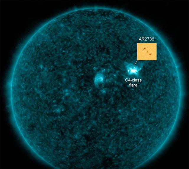 explosão solar de classe C4 oriunda da mancha solar AR 2736