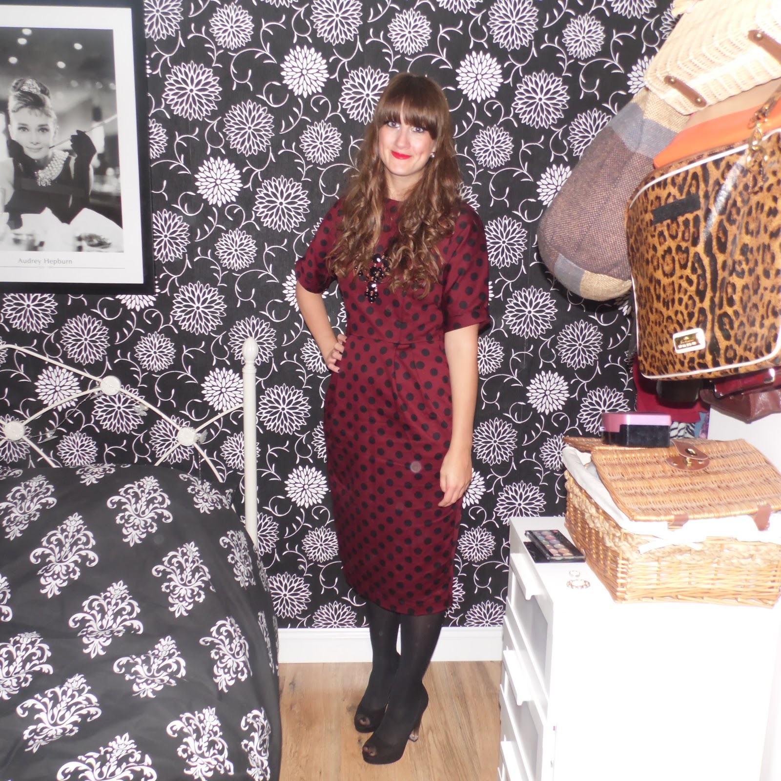 d4ea5b5dc7 Burgandy and black polka dot wiggle dress: Asos Black faux suede peep toe  platforms: New Look Black tights: Primark Black beaded statement necklace:  New ...