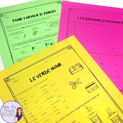 French speaking and writing activities for subject pronouns, avoir conjugations, plural nouns, and school supplies.