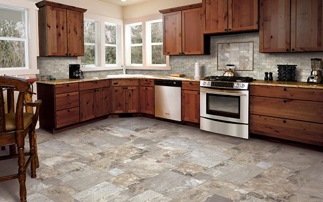Tile flooring is perfect for this large kitchen.