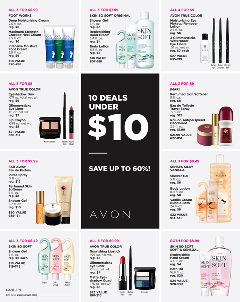 avon catalog 10 deals under $10.00 flyer