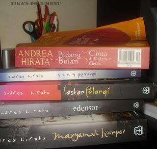 Koleksi buku Tetralogi Andrea Hirata milikku (dok:pri)