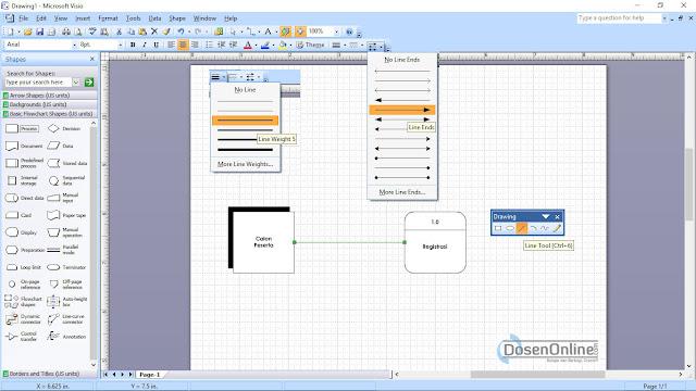 Langkah mudah membuat Arus Data DFD dengan Visio