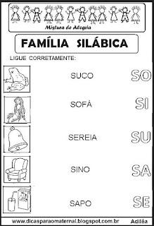 Famílias silábicas alfabetização letra S