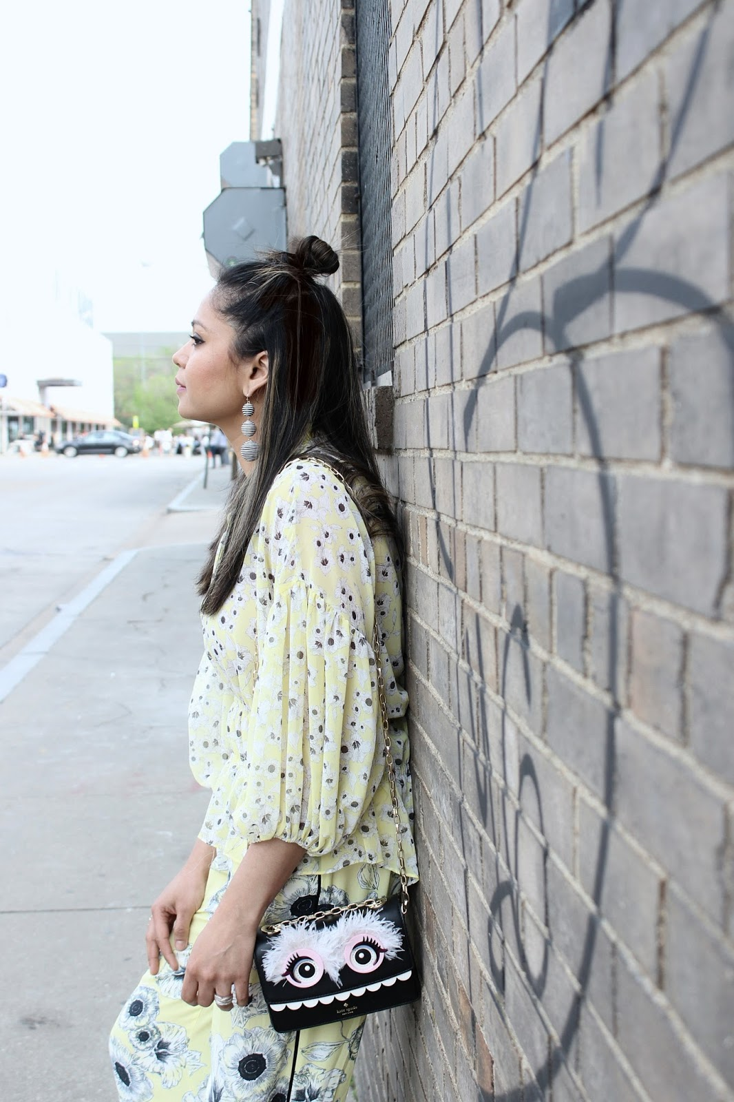 how to wear floral print with floral, yellow wide leg pants outfit, yellow peplum top outfit, look, ootd, street style, zara pants, hushpuppuppies shoes, mules, neutral, spring , saumya , myriad musings