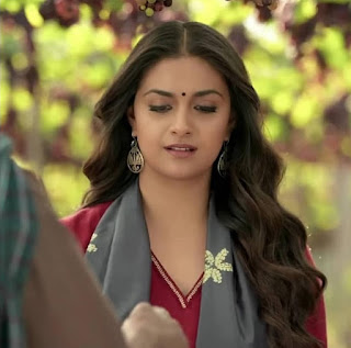 Keerthy Suresh in Maroon with Cute and Lovely Smile in Latest Ad 2