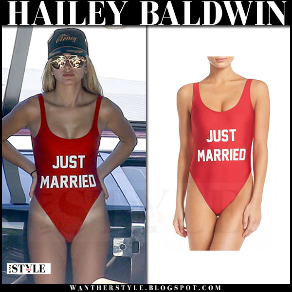 Hailey Baldwin in red Just Married swimsuit what she wore beach style