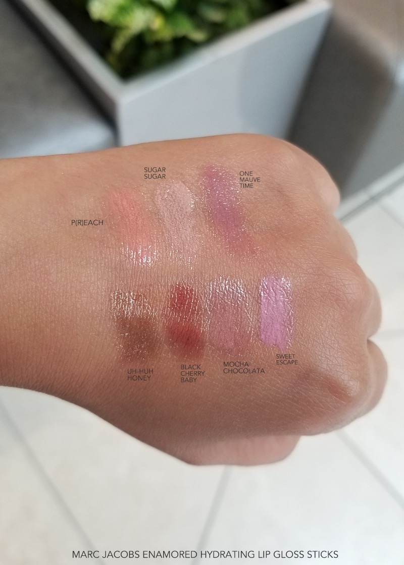 Marc Jacobs Beauty - Enamored Hydrating Lip Gloss Sticks - Swatches  Preach Sugar Sugar One Mauve Time Uh-huh Honey Black Cherry Baby Mocha Choco-lata Sweet Escape