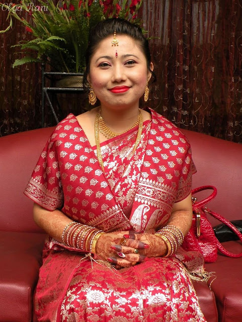 Local style Nepali brides and grooms in traditional dress