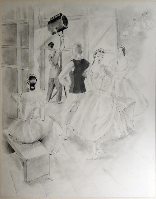 Joan Gil arte moderno dibujo al carboncillo bailarinas teatro