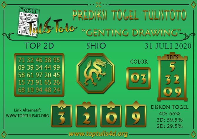 Prediksi Togel GENTING DRAWING TULISTOTO 31 JULI 2020