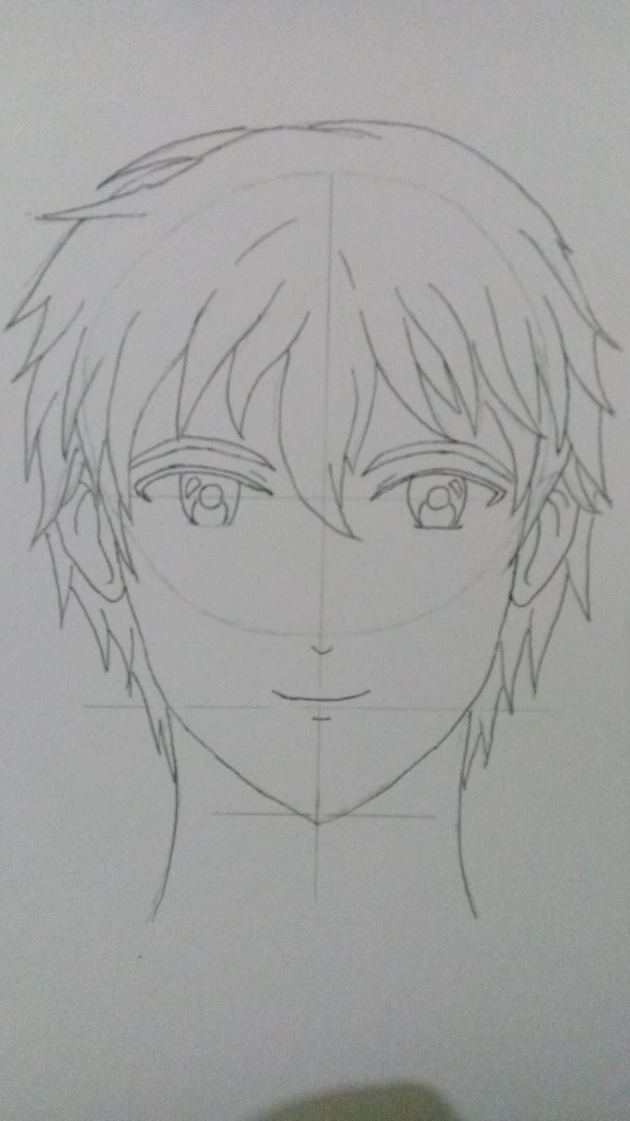 Jika anda sudah selesai menggambar rambut dan juga sudah menebalkan garis dengan drawing pen atau pensil anda bisa menghapus garis bantu atau sketsa