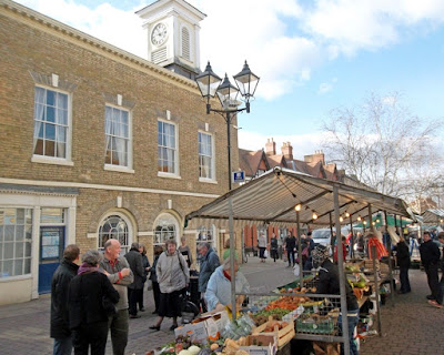 Shopping for fruit and veg on stalls at historic Brigg Market - see Nigel Fisher's Brigg Blog February 2019