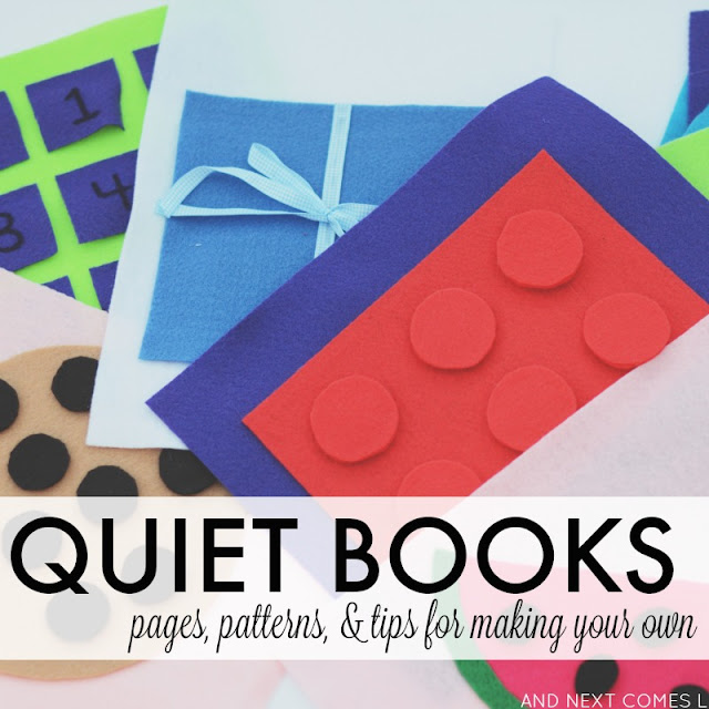 What is a quiet book? All about how to make a quiet book for kids, including inspiration pages, printable quiet book patterns and templates, and tips for making your own from And Next Comes L