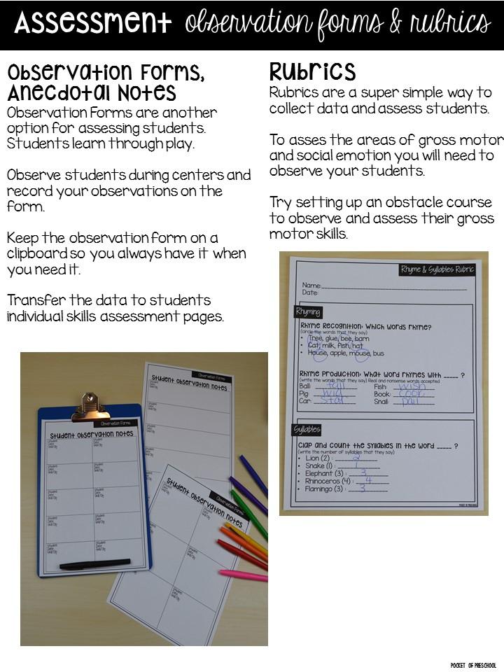 Portfolios & Assessments for Preschool, Pre-K and