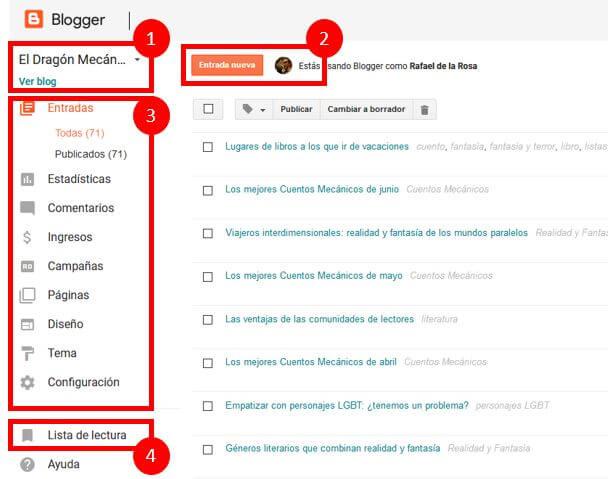 Escritorio Blogger - Partes del escritorio de Blogger - Tutorial de Blogger