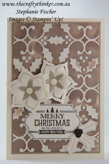 #thecraftythinker, #xmascard, #stampinup, #cardmaking, Christmas Card, Poinsettia, Neutral colours, Stampin' Up Australia Demonstrator, Stephanie Fischer, Sydney NSW