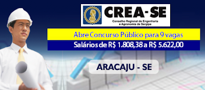 CREA Sergipe abre Concurso para 9 vagas em Aracaju - SE
