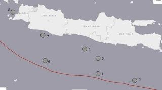 Peta Episentrum Gempa 7+ Jawa Sejak Tahun 1921