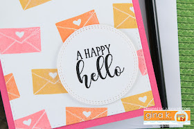Happy Hello Card by Juliana Michaels featuring Happy Mail Stamp Set by Gina K Designs