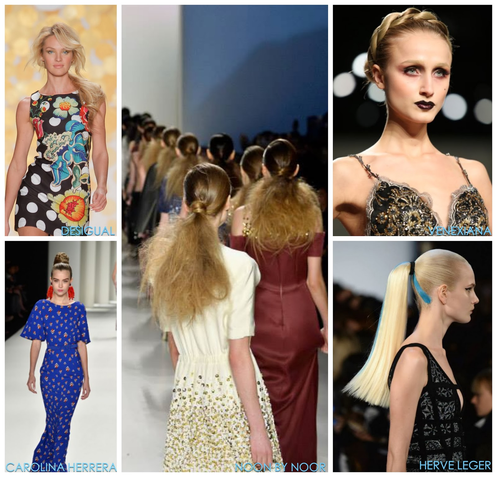 runway hair ideas, best hair from NYFW Fall 2014, Desigual, Carolina Herrera, Noon by Noor, Herve Leger, Venexiana