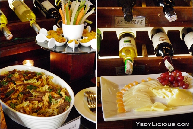 Pasta Salad, Cheese, and Wine at Don Vito Italian Restaurant Boracay