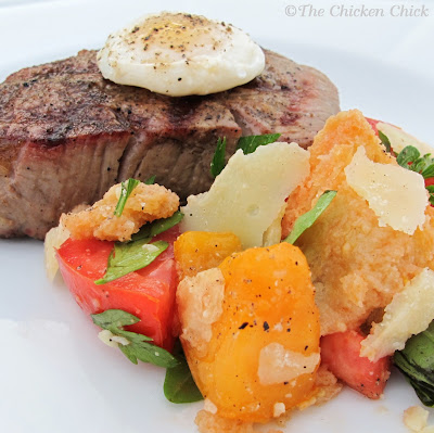 Serve panzanella at room temperature as a light lunch or a side dish with tenderloin, topped with a poached quail egg from your backyard pets, of course.