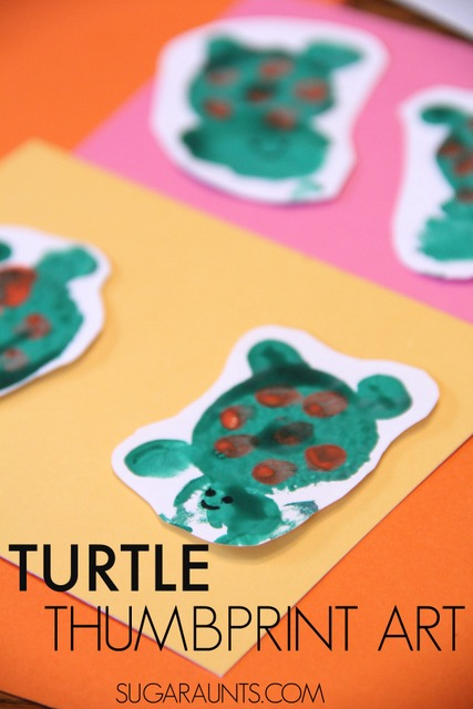 Turtle thumbprint craft for kids