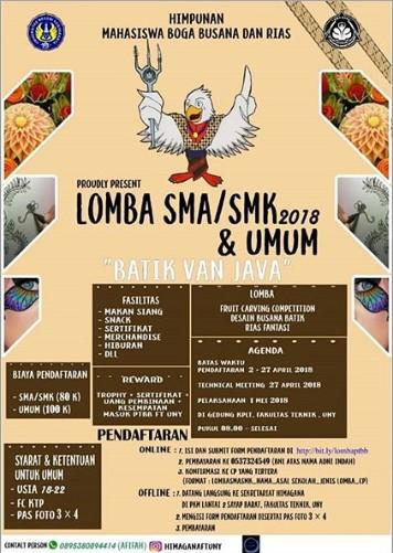 Lomba Desain Busana, Boga & Rias SMA Sederajat/Umum 2018 UNY