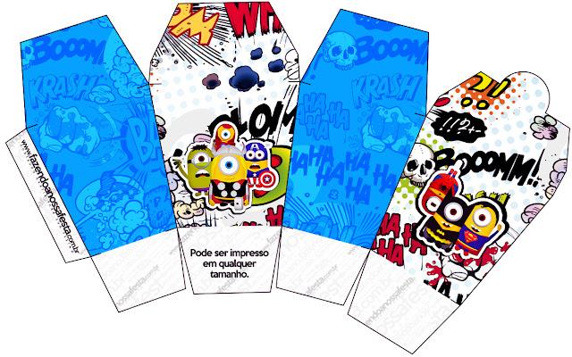 """Caja tipo """"de comida china""""de Minions Super Héroes."""
