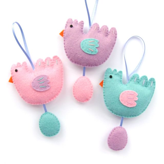 Felt Chicken & Egg Easter Ornaments